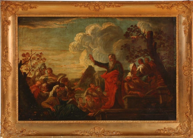 Hand-Painted Late 17th Century the Preaching of Paulus in Lystra, Unsigned, Oil on Canvas For Sale