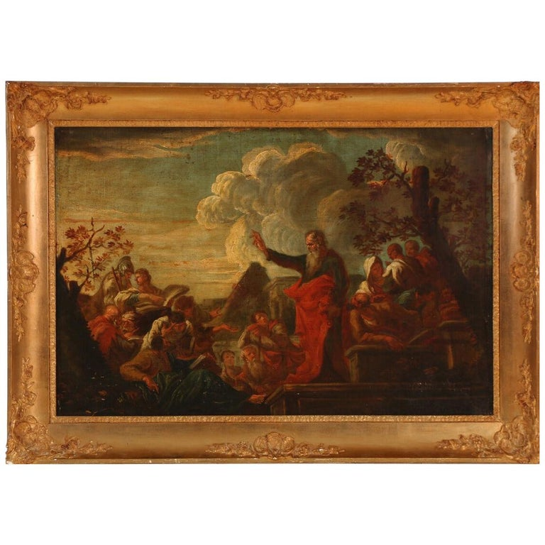 Late 17th Century the Preaching of Paulus in Lystra, Unsigned, Oil on Canvas For Sale
