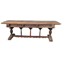 Late 17th Century Walnut Italian Baroque Monastic Library Trestle Dining Table