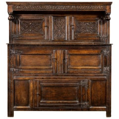 Late 17th Century William and Mary Westmorland Carved Oak Court Cupboard