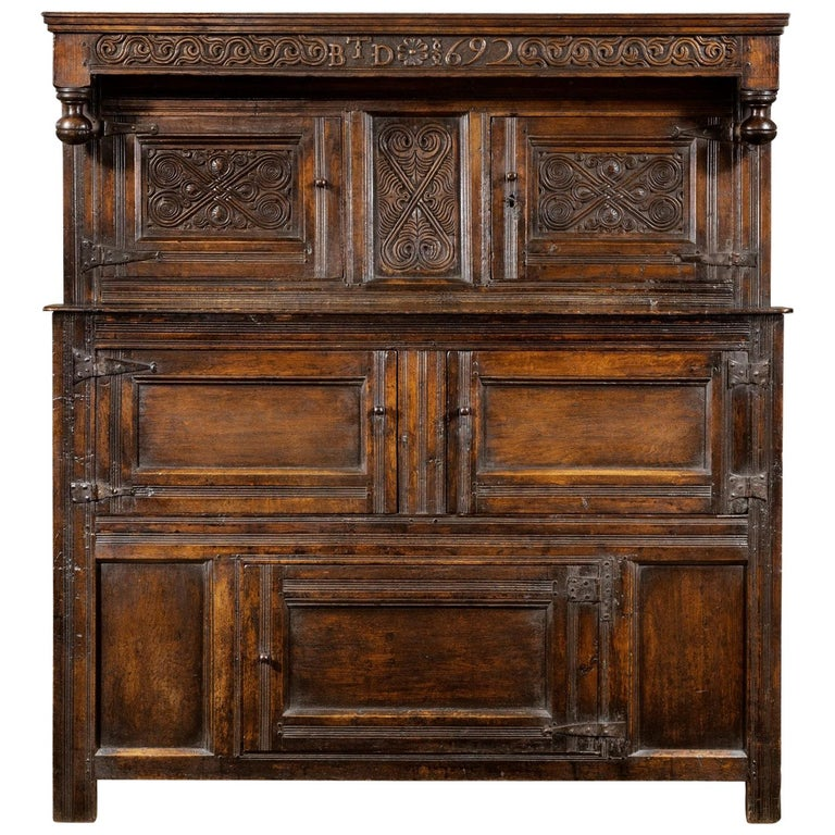 Late 17th Century William and Mary Westmorland Carved Oak Court Cupboard For Sale