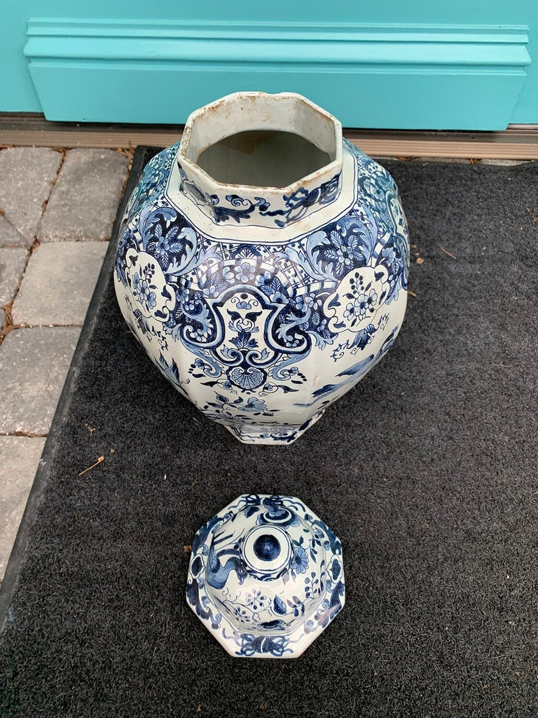 Late 17th-Early 18th Century Delft Blue & White Jar, Marked Pieter Van Der Briel For Sale 7