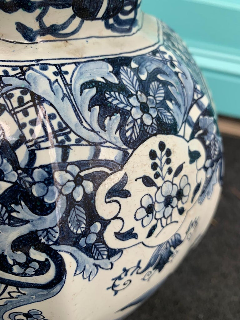 Late 17th-Early 18th Century Delft Blue & White Jar, Marked Pieter Van Der Briel For Sale 3