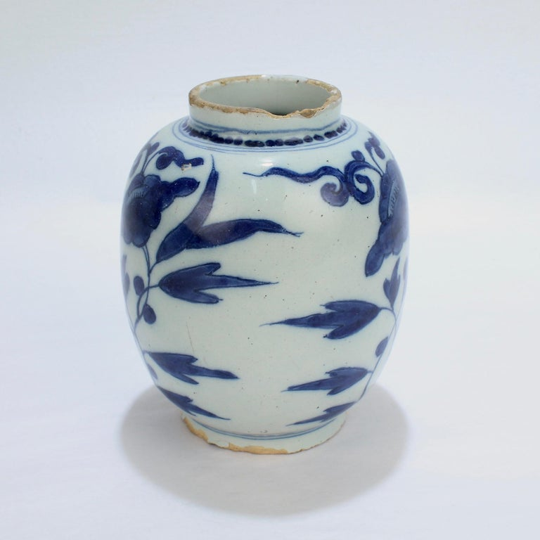 Baroque Late 17th-Early 18th Century Dutch Delft Vase or Jar Marked for Gerrit Kam For Sale