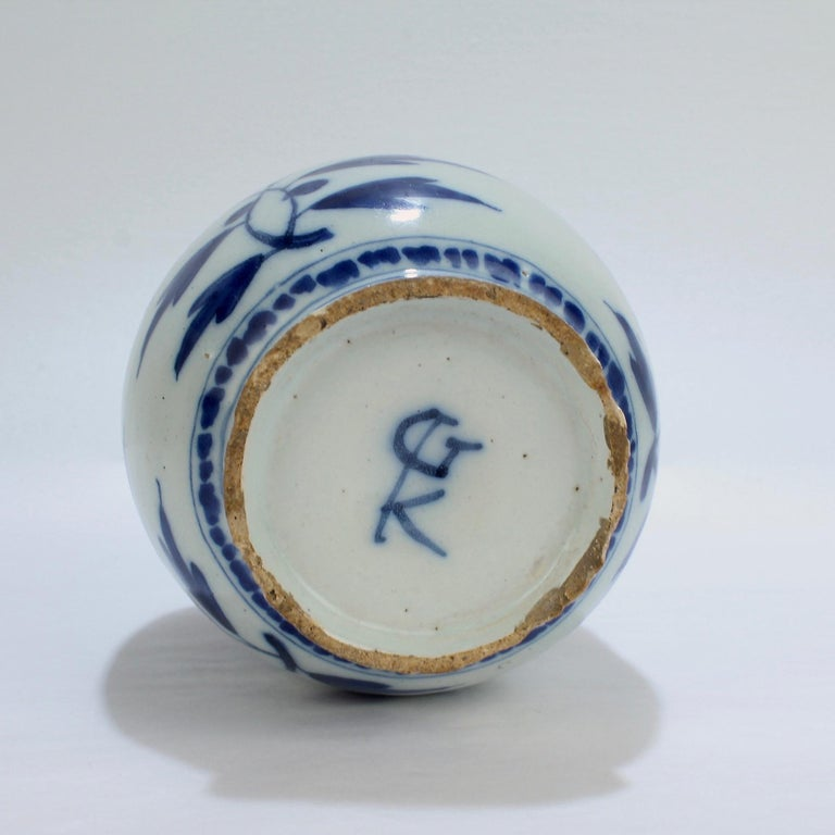 Late 17th-Early 18th Century Dutch Delft Vase or Jar Marked for Gerrit Kam For Sale 3