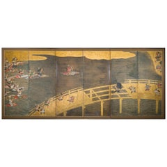 Late 17th-Early 18th Century Japanese Six-Panel Screen, Battle at Uji Bridge