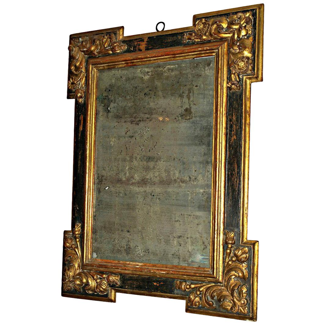 Late 17th-Early 18th Century Spanish Black Painted and Gilt Mirror