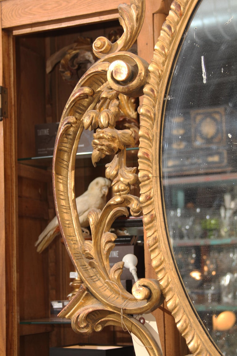 Late 18th Century Ornate Carved Wood and Gilt Mirror For Sale 3