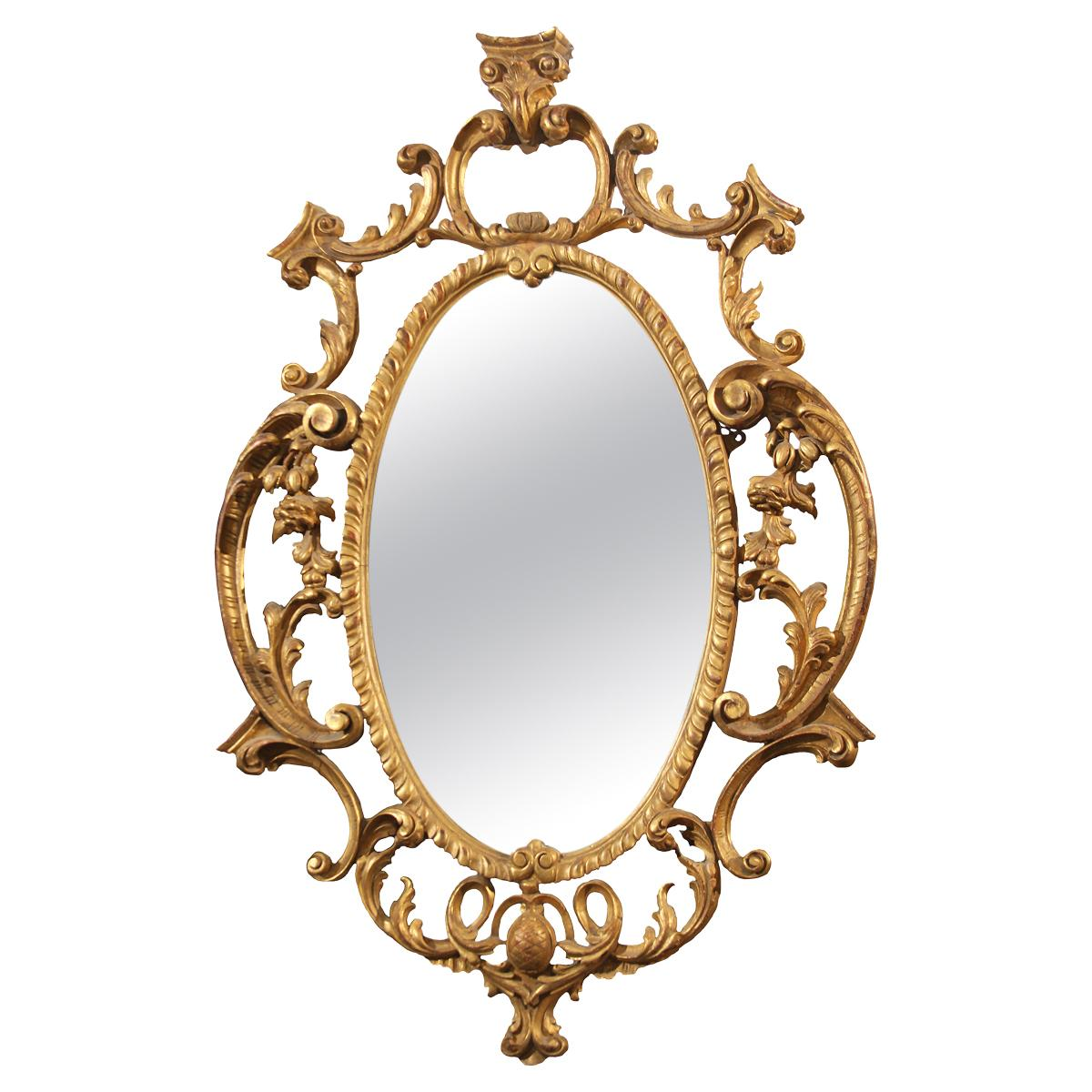 Late 18th Century Ornate Carved Wood and Gilt Mirror