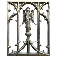 Late 1800 Bronze Window Frame Winged Angel Sculpture Presenting Veronica's Veil