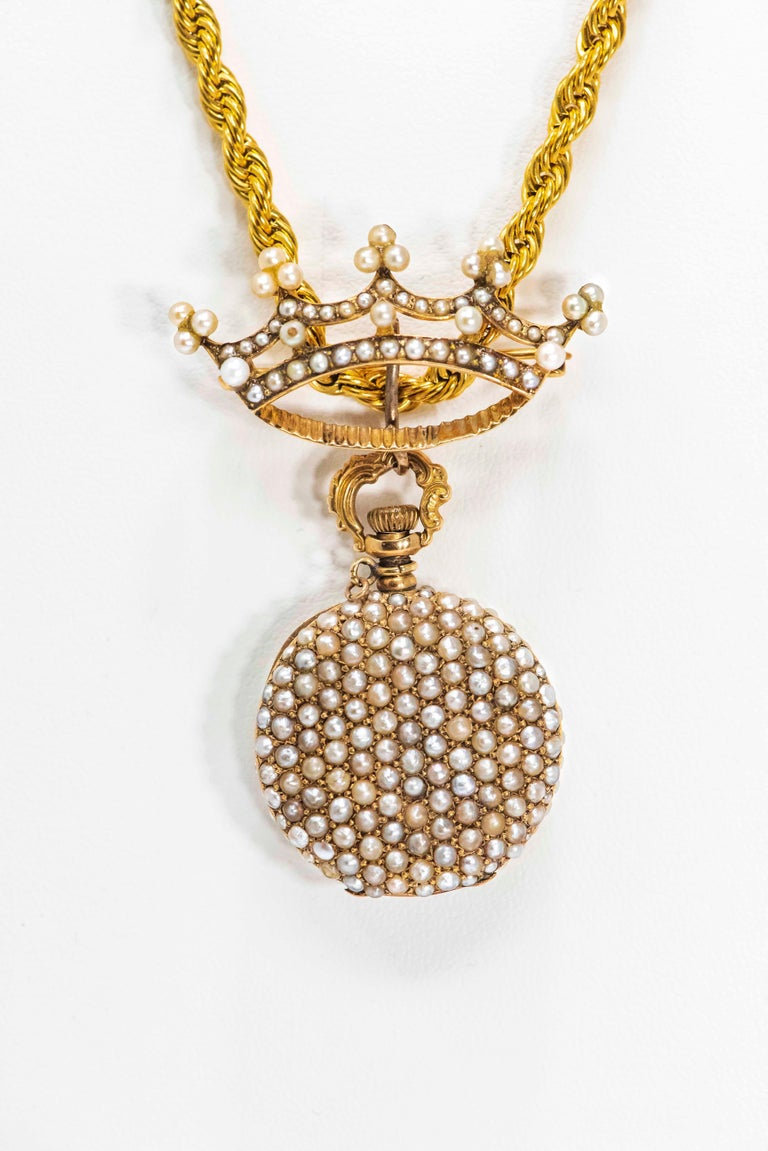 Late 1800s 14 Karat Gold Longines Pearl Set Crown Lapel Pin Pendant Brooch Watch For Sale 5