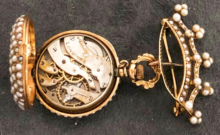 Late 1800s 14 Karat Gold Longines Pearl Set Crown Lapel Pin Pendant Brooch Watch For Sale 10