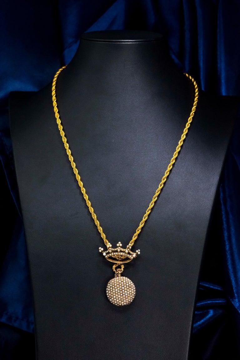 Belle Époque Late 1800s 14 Karat Gold Longines Pearl Set Crown Lapel Pin Pendant Brooch Watch For Sale