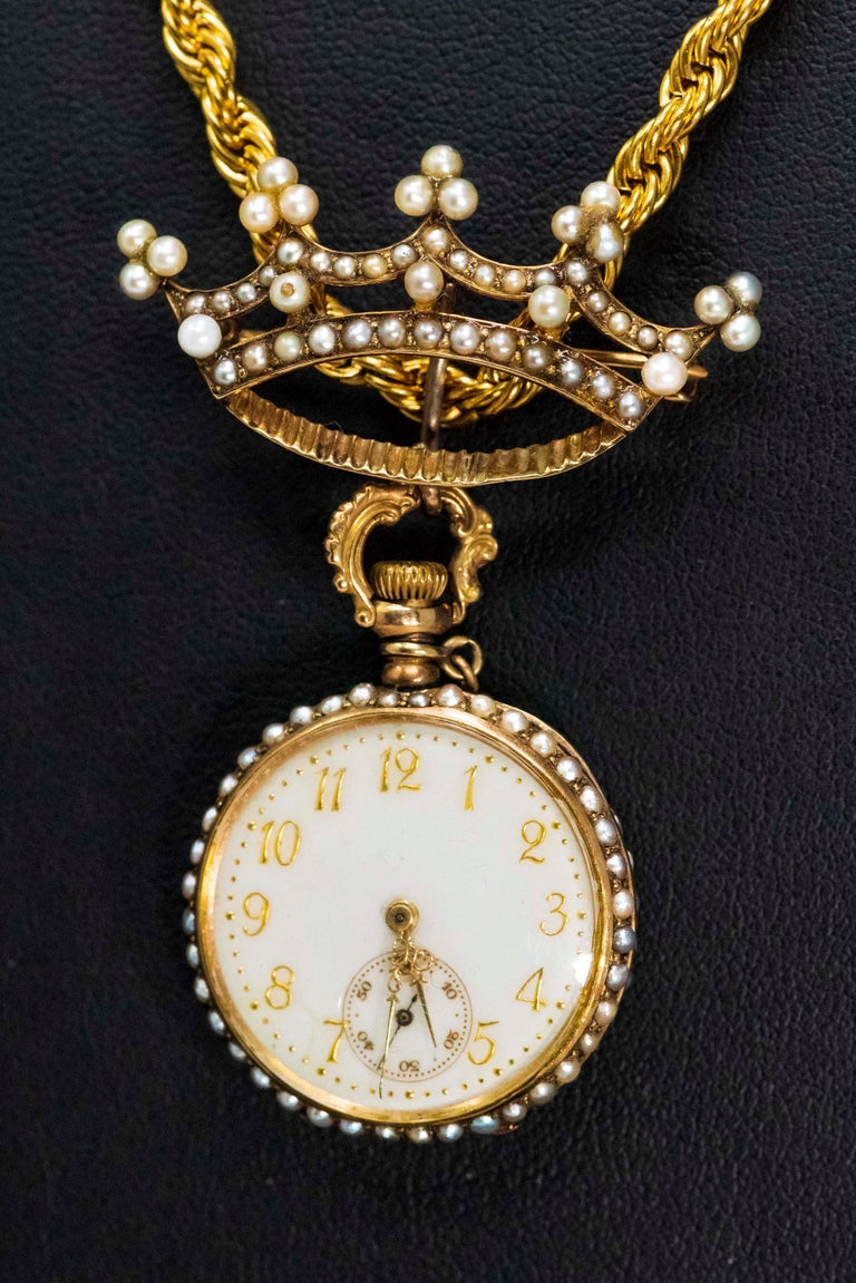 Late 1800s 14 Karat Gold Longines Pearl Set Crown Lapel Pin Pendant Brooch Watch For Sale 1