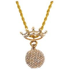 Late 1800s 14 Karat Gold Longines Pearl Set Crown Lapel Pin Pendant Brooch Watch