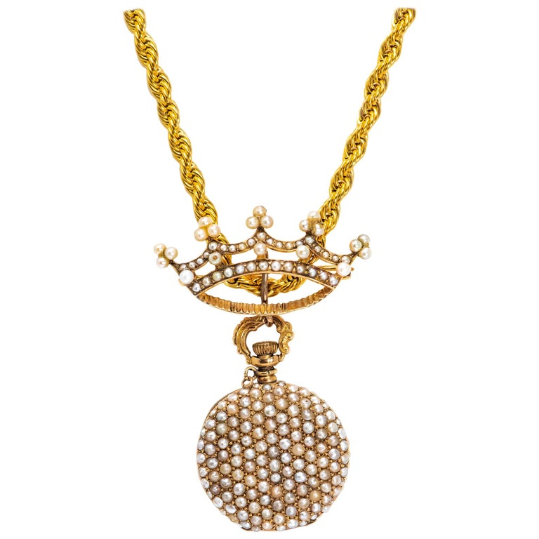 Late 1800s 14 Karat Gold Longines Pearl Set Crown Lapel Pin Pendant Brooch Watch For Sale