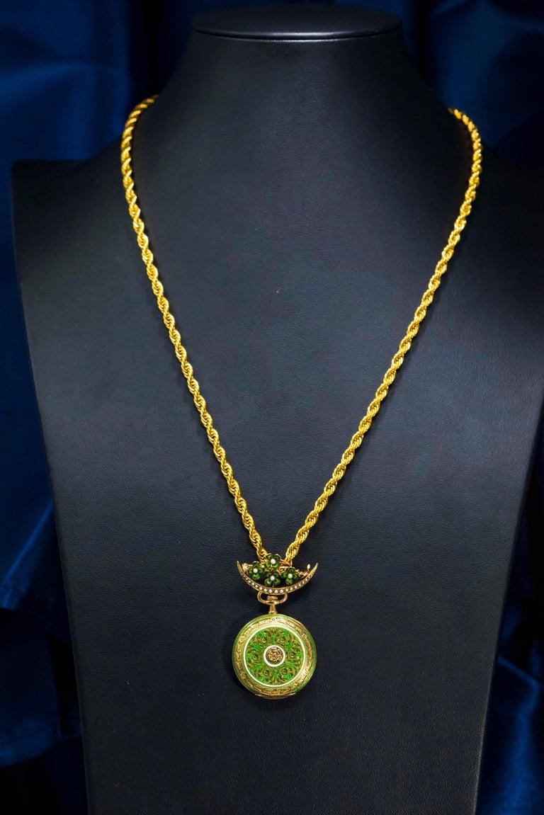 Late 1800s 18 Karat Longines Pearl Enamel Flower Lapel Pin Pendant Brooch Watch For Sale 4