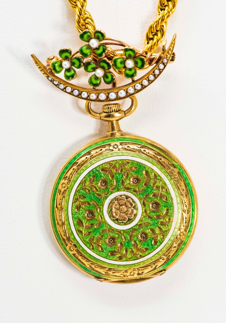 Late 1800s 18 Karat Longines Pearl Enamel Flower Lapel Pin Pendant Brooch Watch For Sale 5