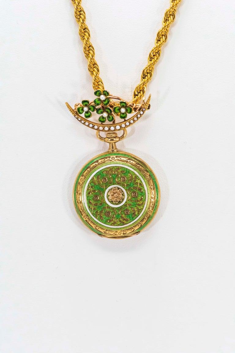 Late 1800s 18 Karat Longines Pearl Enamel Flower Lapel Pin Pendant Brooch Watch For Sale 6