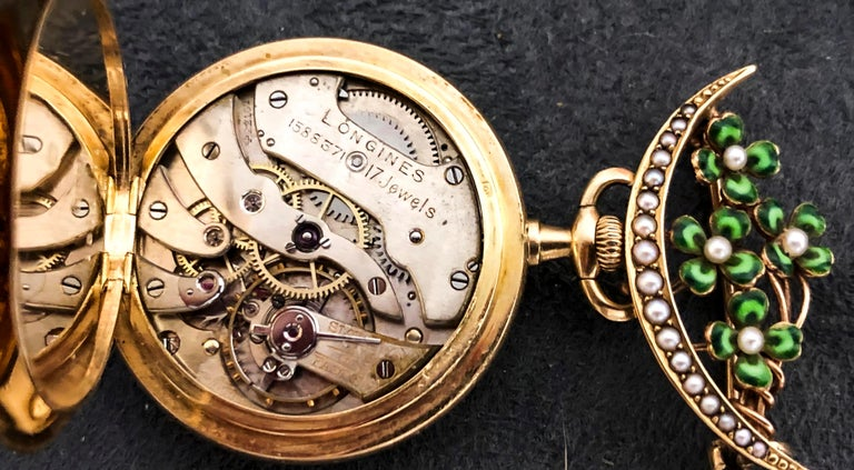 Late 1800s 18 Karat Longines Pearl Enamel Flower Lapel Pin Pendant Brooch Watch For Sale 7