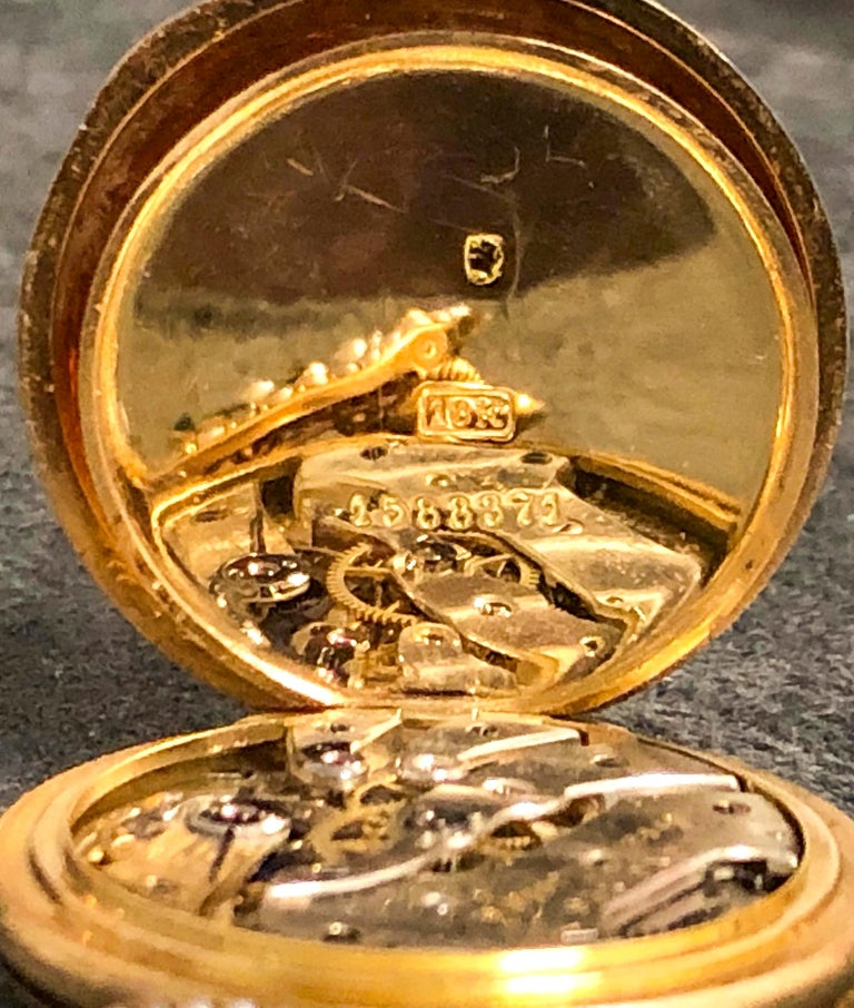 Late 1800s 18 Karat Longines Pearl Enamel Flower Lapel Pin Pendant Brooch Watch For Sale 8