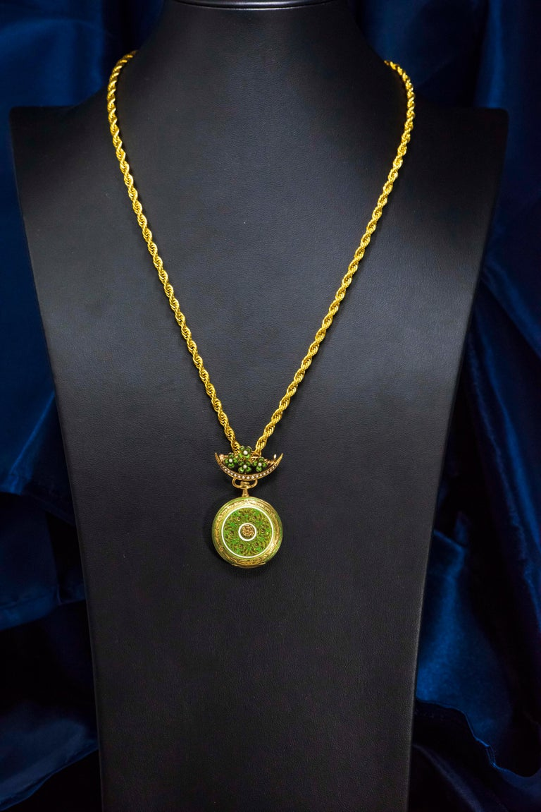 Belle Époque Late 1800s 18 Karat Longines Pearl Enamel Flower Lapel Pin Pendant Brooch Watch For Sale