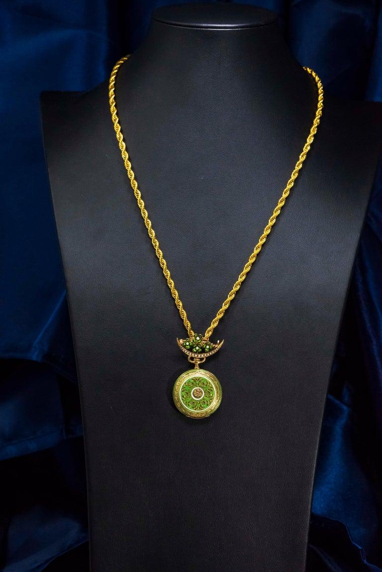 Round Cut Late 1800s 18 Karat Longines Pearl Enamel Flower Lapel Pin Pendant Brooch Watch For Sale