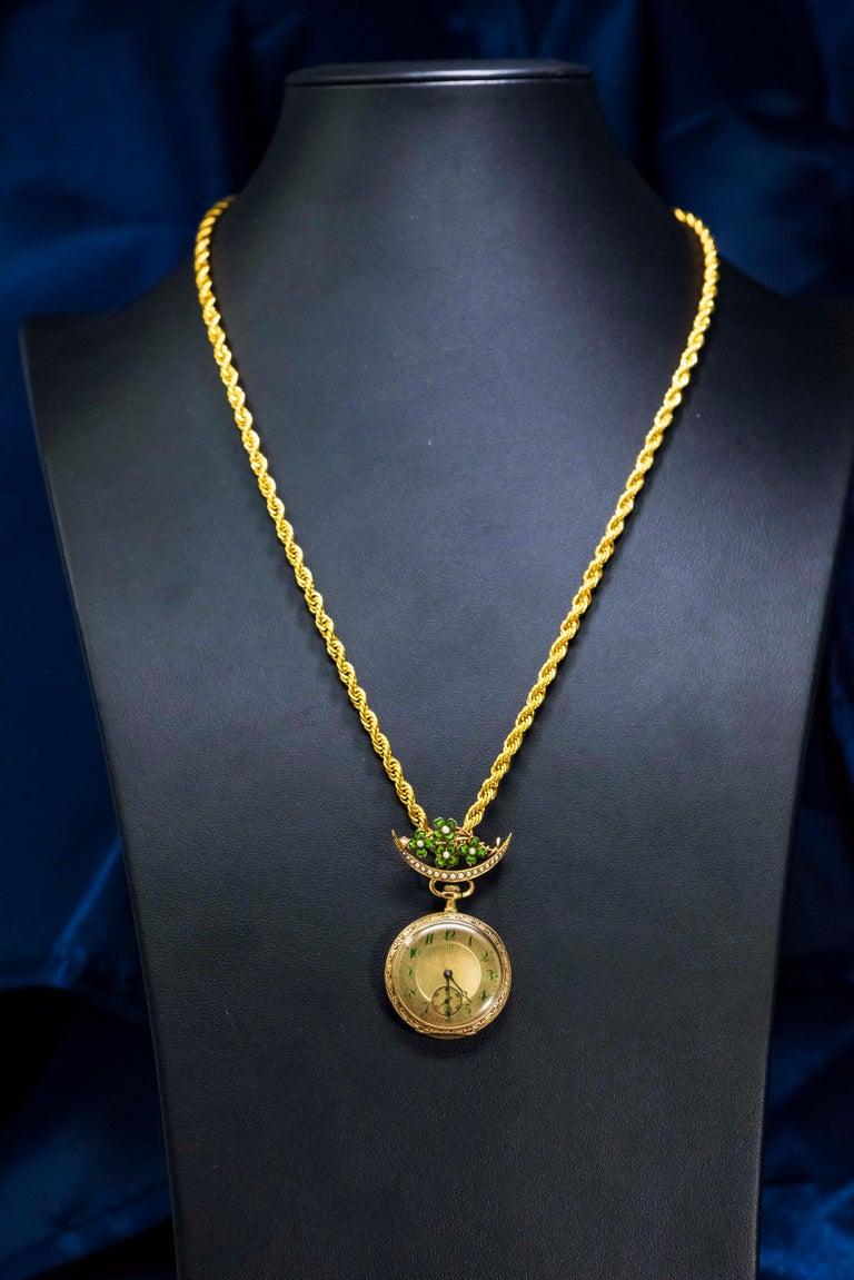 Women's or Men's Late 1800s 18 Karat Longines Pearl Enamel Flower Lapel Pin Pendant Brooch Watch For Sale