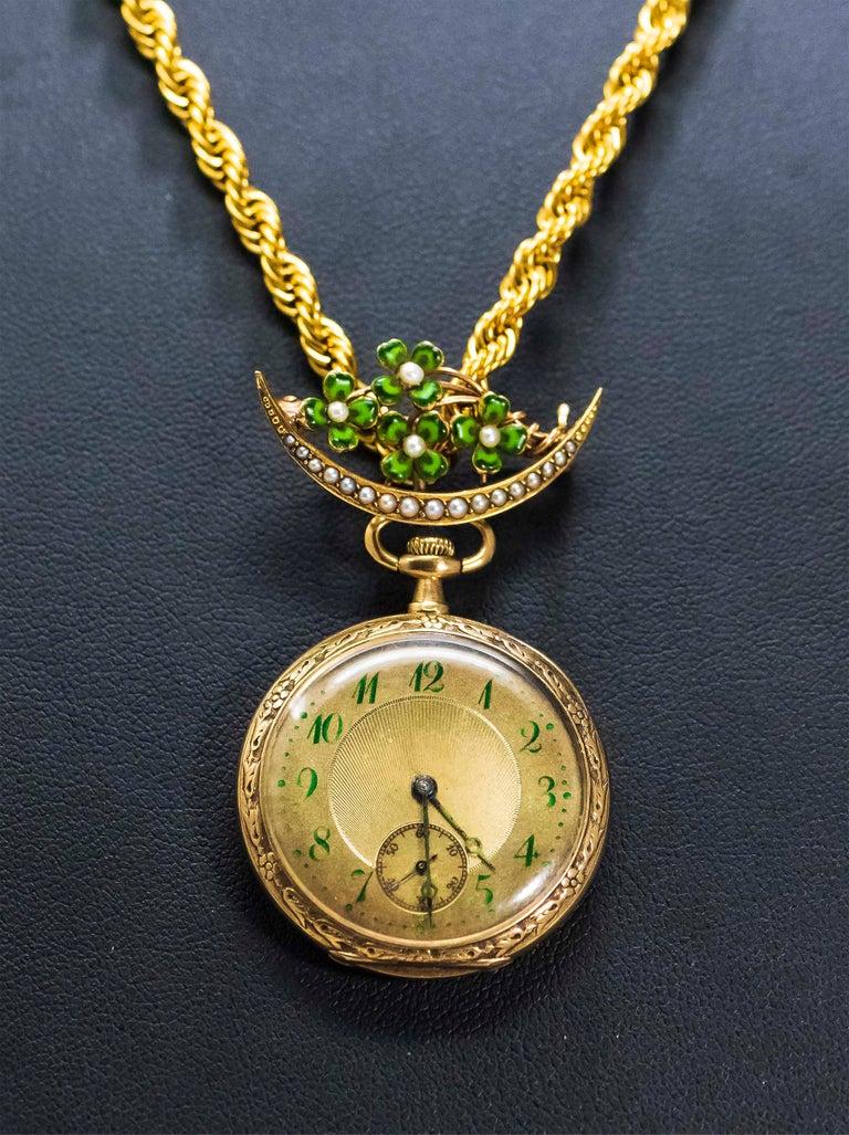 Late 1800s 18 Karat Longines Pearl Enamel Flower Lapel Pin Pendant Brooch Watch For Sale 1