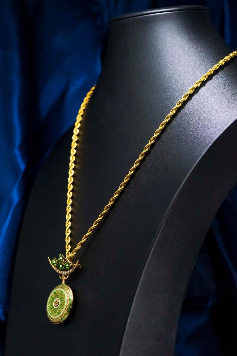 Late 1800s 18 Karat Longines Pearl Enamel Flower Lapel Pin Pendant Brooch Watch For Sale 2