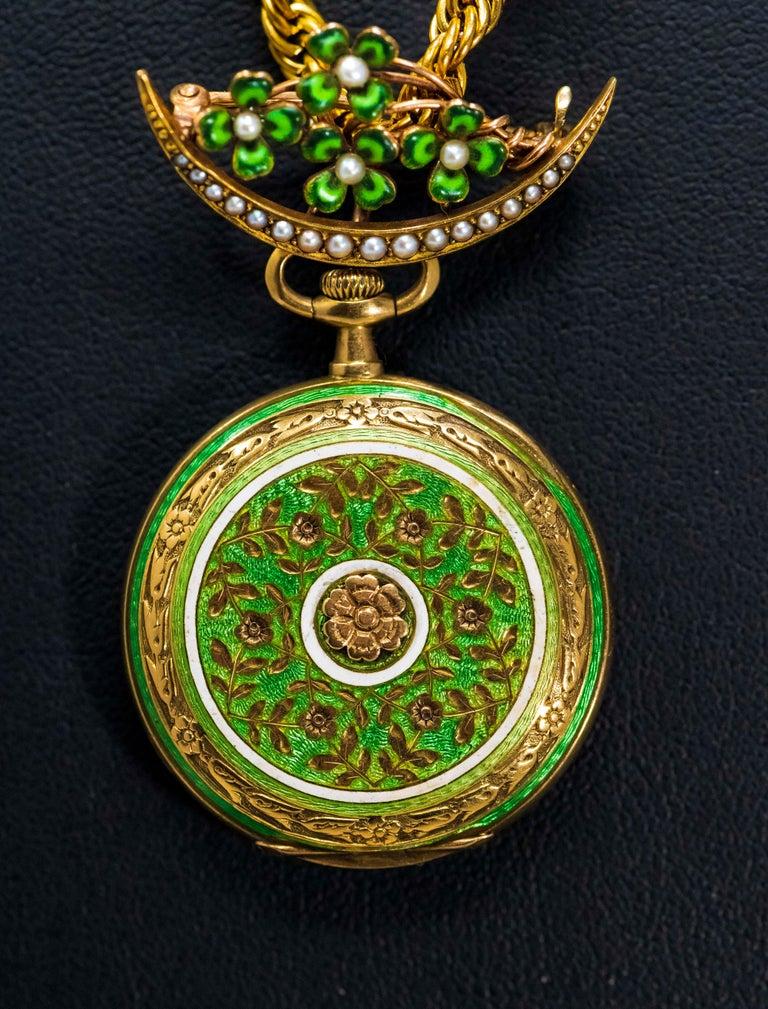 Late 1800s 18 Karat Longines Pearl Enamel Flower Lapel Pin Pendant Brooch Watch For Sale 3