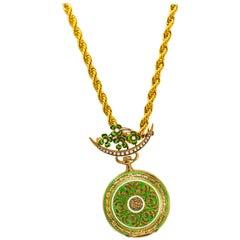 Late 1800s 18 Karat Longines Pearl Enamel Flower Lapel Pin Pendant Brooch Watch