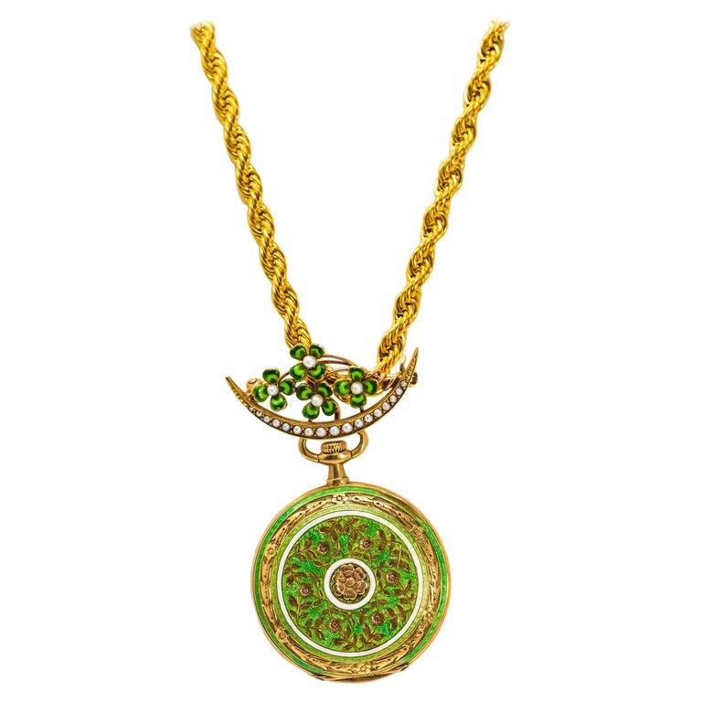 Late 1800s 18 Karat Longines Pearl Enamel Flower Lapel Pin Pendant Brooch Watch For Sale