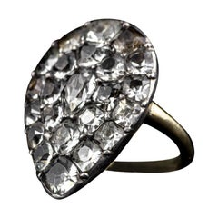 Late 1800s 925 Silver and 18 Kt Yellow Gold Antique Ring with Glass Pastes