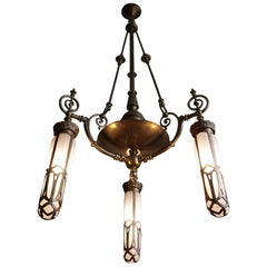 Late 1800s Arts & Crafts Brass Light Fixture with Later Bronze and Glass Shades