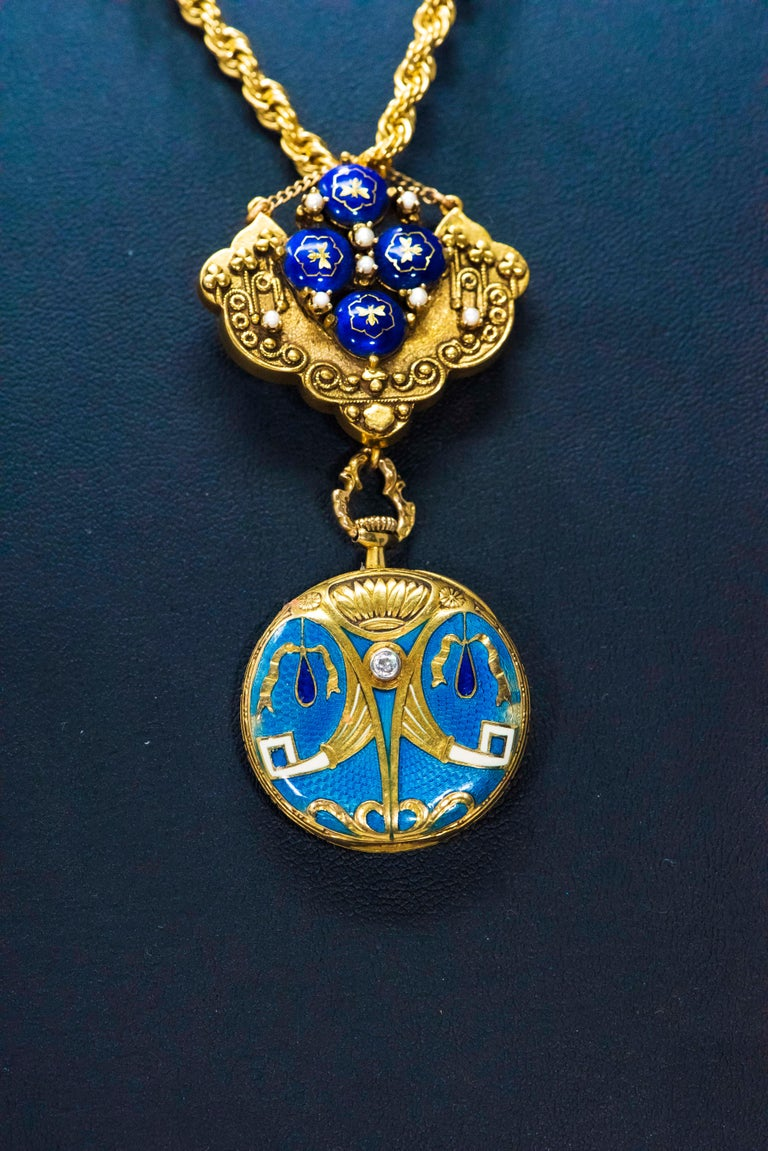 Late 1800s Egyptian Revival Pearl Enamel Diamond Longines Pendant Brooch Watch For Sale 5