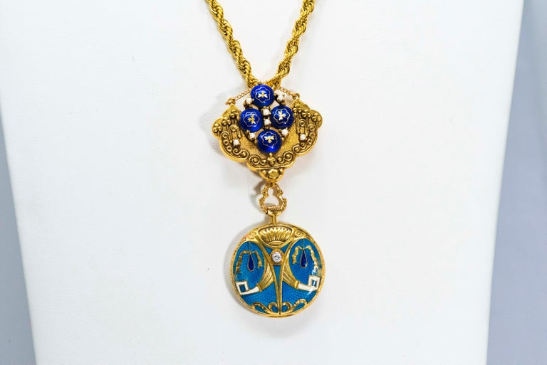 Late 1800s Egyptian Revival Pearl Enamel Diamond Longines Pendant Brooch Watch For Sale 9