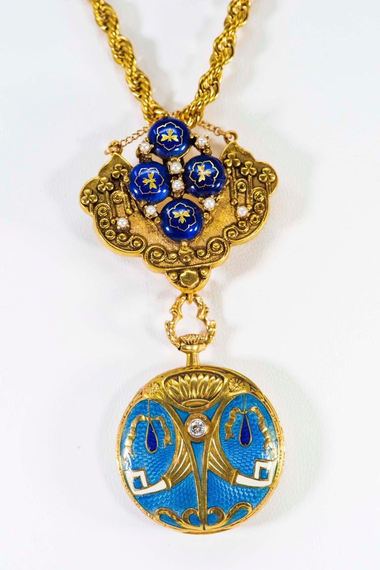 Late 1800s Egyptian Revival Pearl Enamel Diamond Longines Pendant Brooch Watch For Sale 10