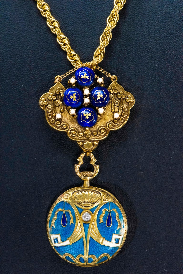 Round Cut Late 1800s Egyptian Revival Pearl Enamel Diamond Longines Pendant Brooch Watch For Sale