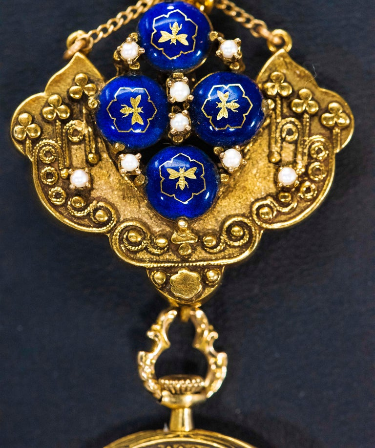 Late 1800s Egyptian Revival Pearl Enamel Diamond Longines Pendant Brooch Watch In Good Condition For Sale In New york, NY