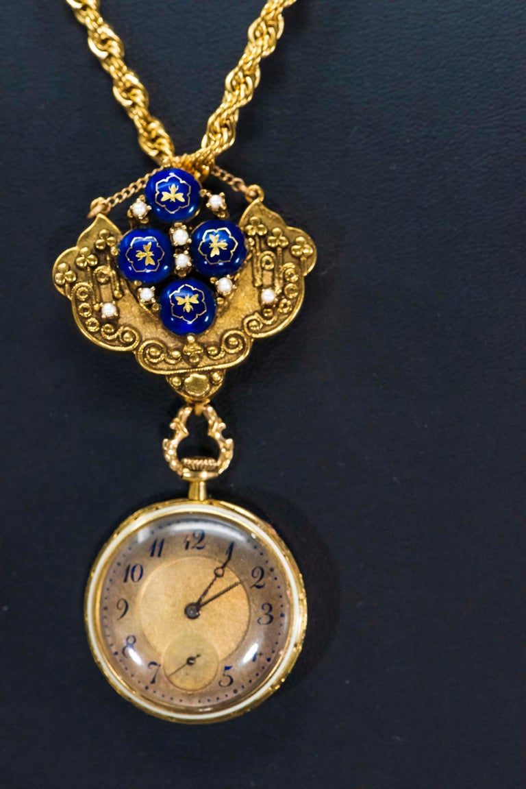 Late 1800s Egyptian Revival Pearl Enamel Diamond Longines Pendant Brooch Watch For Sale 1