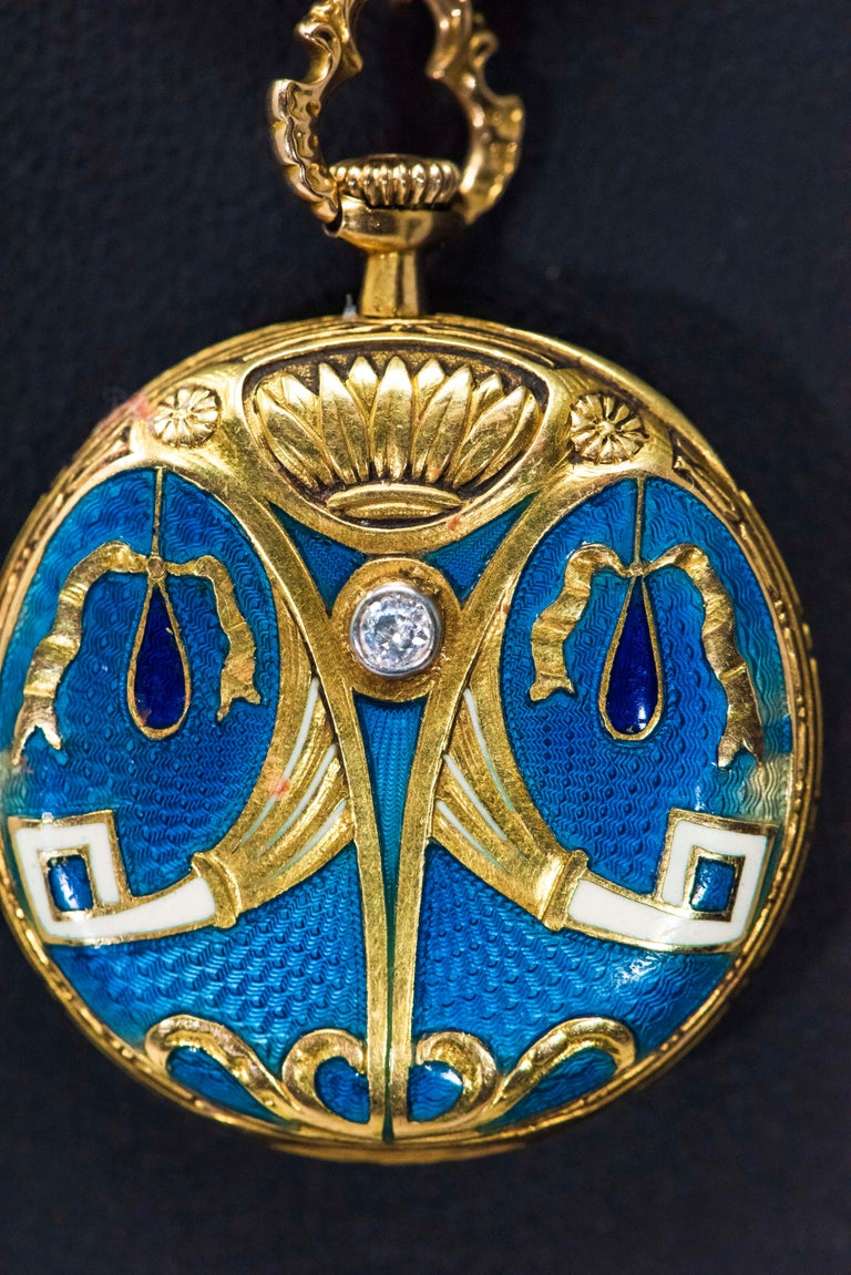 Late 1800s Egyptian Revival Pearl Enamel Diamond Longines Pendant Brooch Watch For Sale 3