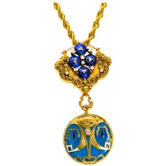 Late 1800s Egyptian Revival Pearl Enamel Diamond Longines Pendant Brooch Watch