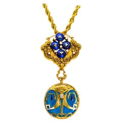 Late 1800s Egyptian Revival Pearl Enamel Diamond Longines Pendant Brooch Watch