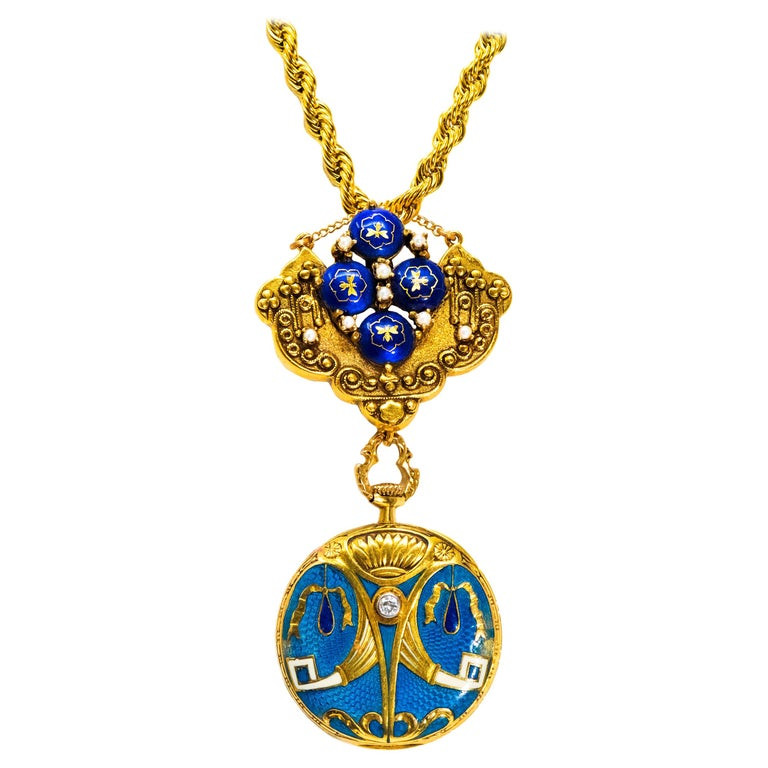 Late 1800s Egyptian Revival Pearl Enamel Diamond Longines Pendant Brooch Watch For Sale