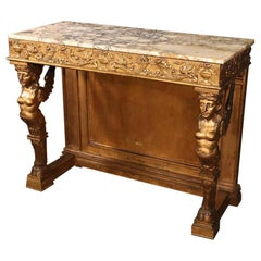 Late 1800s Era Egyptian Revival Gilded Carved Figural Marble-Top Console Table
