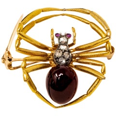 Late 1800s French 18kt Gold Diamond & Ruby Spider Brooch