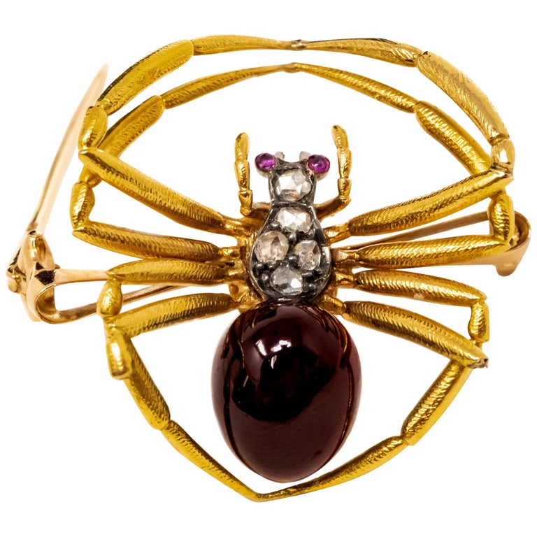 247b6107ece Late 1800s French 18kt Gold Diamond and Ruby Spider Brooch For Sale ...
