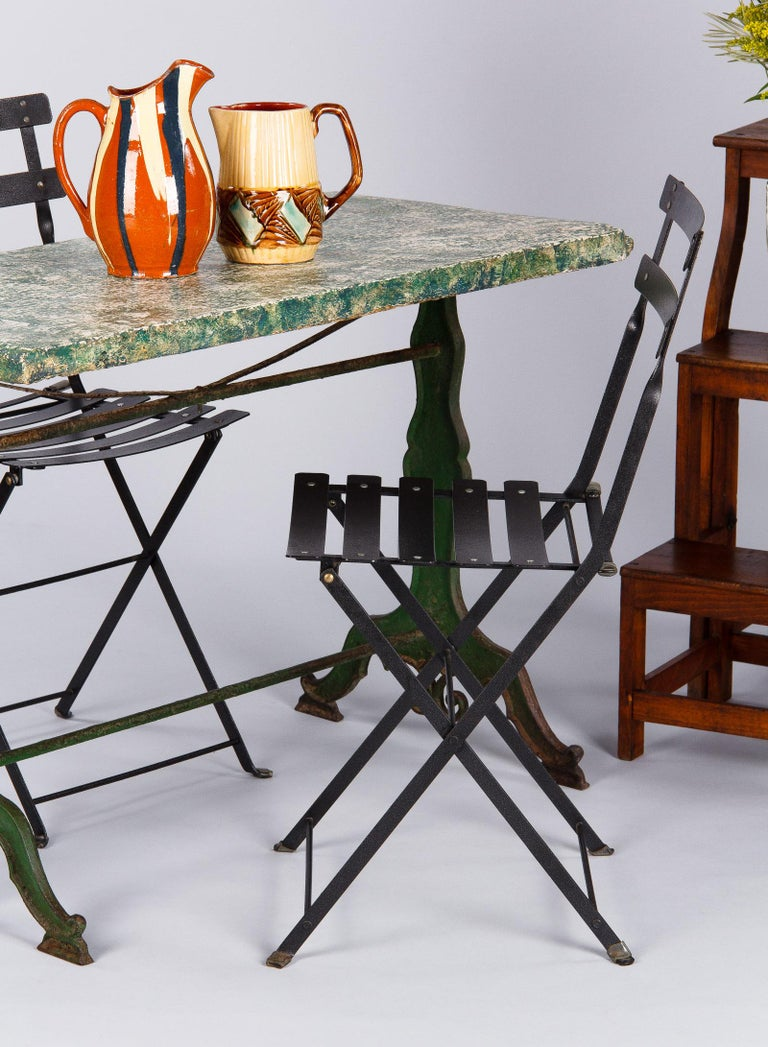 Late 1800s French Concrete Top Garden Table With Cast Iron