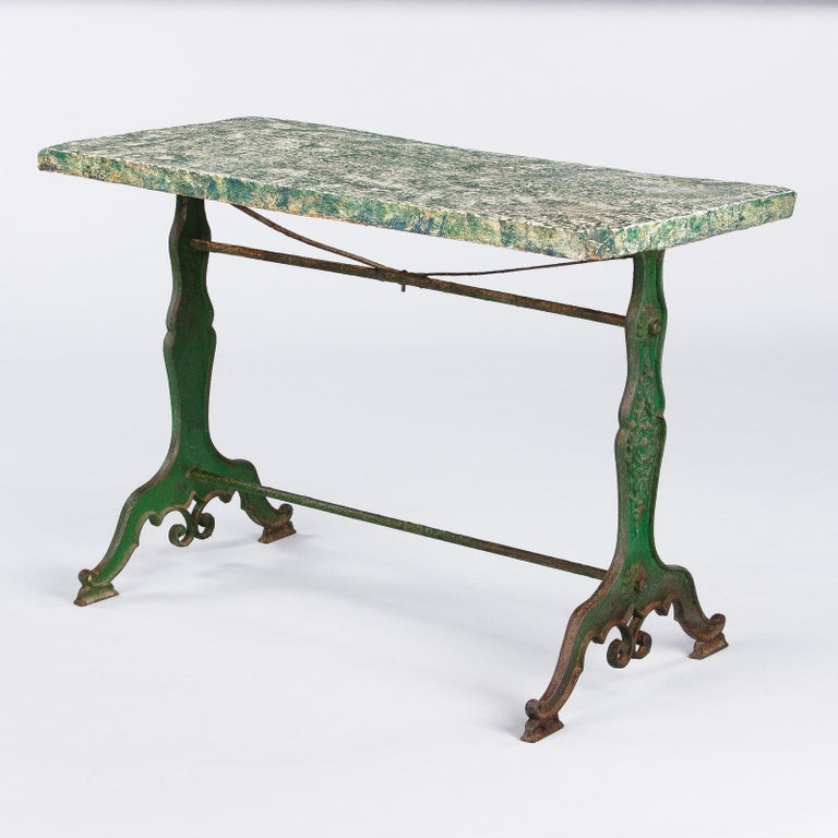 Late 1800s French Concrete Top Garden Table with Cast Iron Base For Sale 6